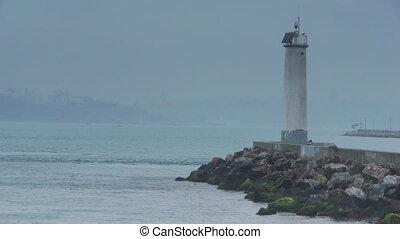 Couple lighthouse sea nature