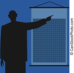 man standing near chart - Illustration of silhouette of man...