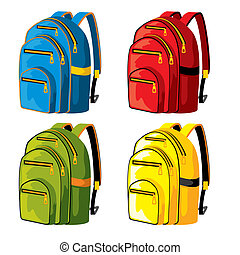 backpacks - set of sport backpacks of different colors