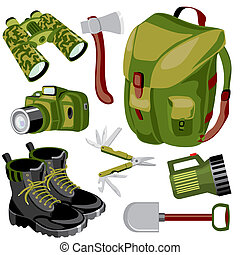 travel objects - set of vector images of objects for a...