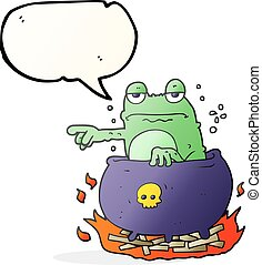 speech bubble cartoon halloween toad - freehand drawn speech...