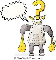 speech bubble cartoon confused robot carrying shopping -...