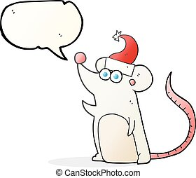 speech bubble cartoon mouse in christmas hat - freehand...