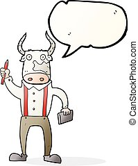 speech bubble cartoon bull man - freehand drawn speech...