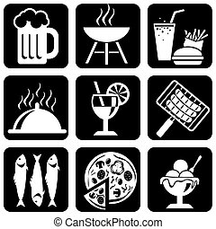 food_icons - set of vector silhouette icons of food,...