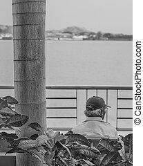 Old Man Watching the River at Puerto Santa Ana Guayaquil...