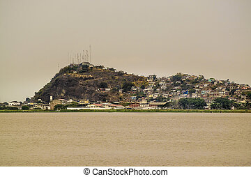 Guayas River and Hill with Houses View in Guayaquil Ecuadror...