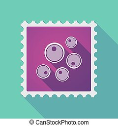 Long shadow mail stamp icon with oocytes - Illustration of a...