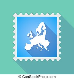 Long shadow mail stamp icon with  a map of Europe
