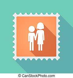 Long shadow mail stamp icon with a childhood pictogram -...