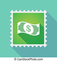 Long shadow mail stamp icon with a dollar bank note -...