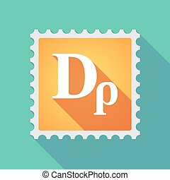 Long shadow mail stamp icon with a drachma currency sign -...
