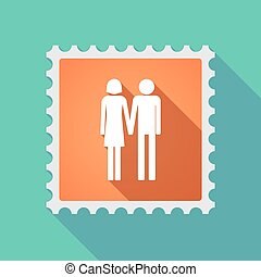 Long shadow mail stamp icon with a heterosexual couple...