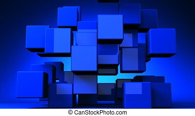 Blue Cube Abstract On Blue Background.