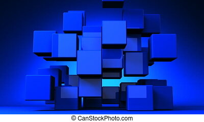 Blue Cube Abstract - Loop Able Blue Cube Abstract On Blue...