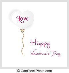 white helium balloon heart shape valentine card eps10