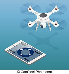 Full control of drone. Drone being flown in an urban area. Drone aerial photography concept. Drone isometric. Drone EPS. Drone quadrocopter 3d isometric illustration. Drone with action camera icon.