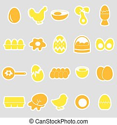 set of egg theme yellow stickers eps10
