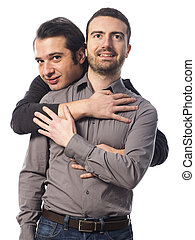 A gay couple on white background studio - two gay guys...