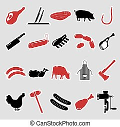 butcher and meat shop black and red stickers set eps10