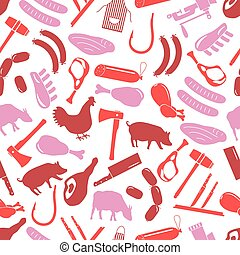 butcher and meat shop icons seamless red pattern eps10