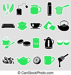 tea theme simple stickers icons set eps10