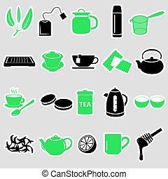 tea theme simple stickers icons set eps10