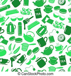 tea theme green simple icons seamless pattern eps10