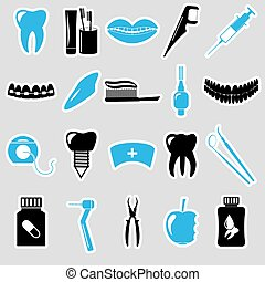 set of dental theme blue stickers eps10
