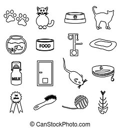 cats pets items simple black outline icons set eps10