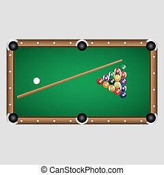complete set of color billiards balls and table eps10
