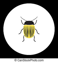 simple yellow little colorado beetle black icon eps10