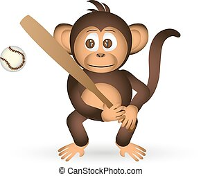 cute chimpanzee holding baseball bat sport little monkey...