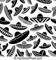 Mexico sombrero black hat variations icons seamless pattern...