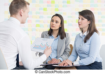 Listen to our business plan - Man holding chart and two...