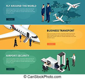 Airport web banner set. Concept of international private airline. Flying commercial and private personal transport passenger jet. Fly around the world, business transport. Flat 3d isometric vector.