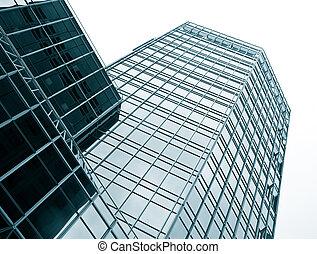 Office building facade - Modern office building glass facade...