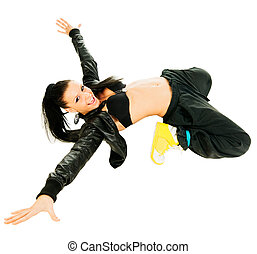 Active hip-hop dancer on white - Cool active female hip-hop...
