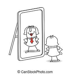 Be yourself Karen - Karen looks in the mirror. It is a...