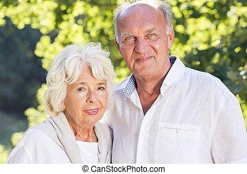 Senior couple spending time outdoors - Portrait of senior...