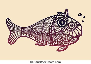 Fish with headphones. This is ornate isolated vector...