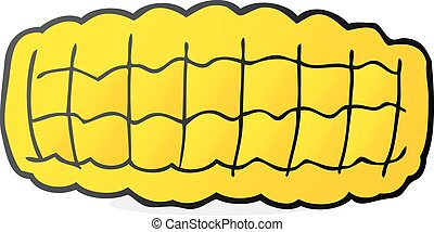 cartoon corn cob - freehand drawn cartoon corn cob
