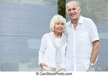 Elder couple traveling and sightseeing