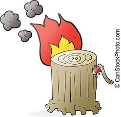 cartoon big tree stump - freehand drawn cartoon big tree...