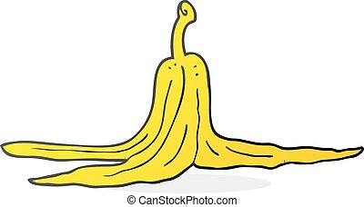 cartoon banana peel - freehand drawn cartoon banana peel