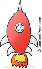 cartoon spaceship - freehand drawn cartoon spaceship