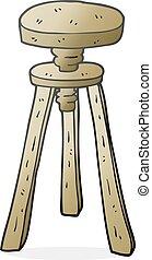 cartoon artist stool - freehand drawn cartoon artist stool