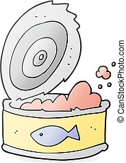 cartoon can of tuna - freehand drawn cartoon can of tuna