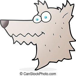 cartoon wolf head - freehand drawn cartoon wolf head