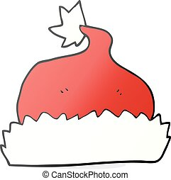 cartoon santa hat - freehand drawn cartoon santa hat